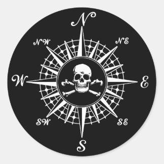 Het kompas nam Schedel 1 toe Ronde Sticker