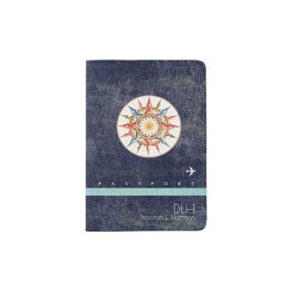 het kompas nam toe + naam & initialen, elegant oud paspoort houder