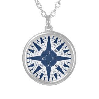 Het kompas nam toe zilver vergulden ketting