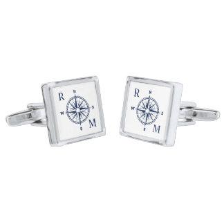 Het kompas nam ZeevaartMonogram toe Verzilverde Manchetknopen