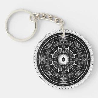 Het kompas nam - (Zwarte) Keychain toe Sleutelhanger