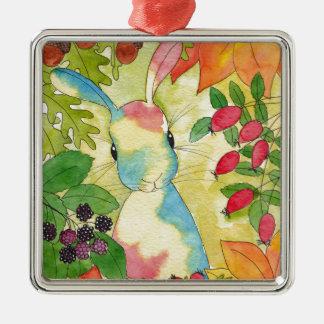 Het Konijntje van de herfst door het Art. van de Zilverkleurig Vierkant Ornament
