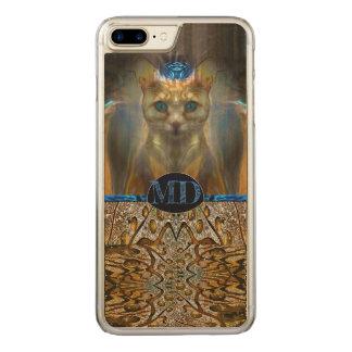 Het koninklijke Monogram van de Druk van de Kat Carved iPhone 8 Plus / 7 Plus Hoesje