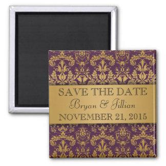 Het koninklijke Paarse & Gouden Vorstelijke Damast Koelkast Magneetje