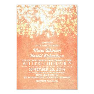 het koord steekt perzik en gouden rustiek huwelijk 12,7x17,8 uitnodiging kaart