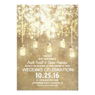 Het koord steekt sparkly het huwelijk van 12,7x17,8 uitnodiging kaart