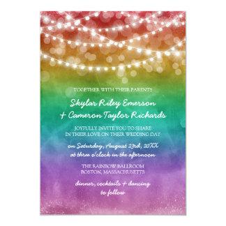 Het Koord van Ombre van de regenboog steekt 12,7x17,8 Uitnodiging Kaart
