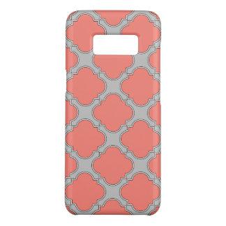 Het koraal van Quatrefoil en grijs Case-Mate Samsung Galaxy S8 Hoesje