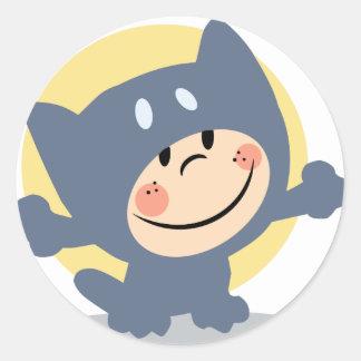 Het Kostuum van de Kat van Halloween Ronde Stickers