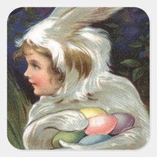 Het Kostuum van de Paashaas van het meisje kleurde Vierkant Stickers