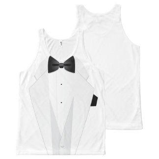 Het Kostuum van de Smoking van formele Witte All-Over-Print Tank Top