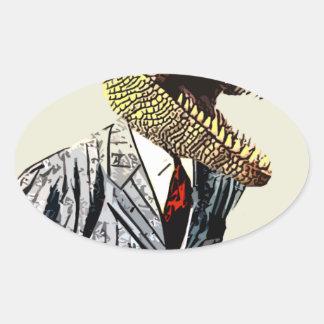 Het kostuum van Dino Ovale Sticker