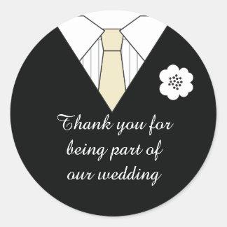 Het Kostuum van het huwelijk dankt u goedkeurt Ronde Sticker