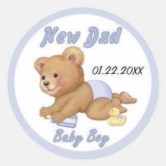 Het kruipen Teddy - Nieuwe Papa van Jongen - past Ronde Sticker