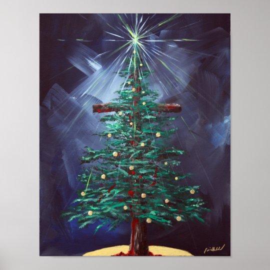 Het Kruis Van Kerstmis Kerstboom Poster