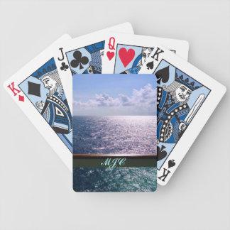 Het kruisen van Oceaan Blauwe Met monogram Poker Kaarten
