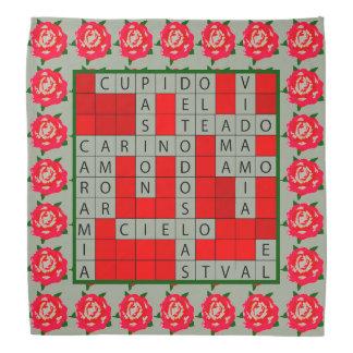 Het Kruiswoordraadsel van de liefde in het Spaans Bandana