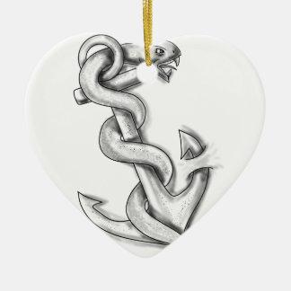 Het Krullen van de Slang van Asclepius omhoog op Keramisch Hart Ornament