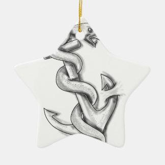 Het Krullen van de Slang van Asclepius omhoog op Keramisch Ster Ornament