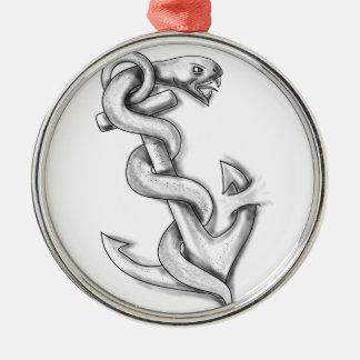 Het Krullen van de Slang van Asclepius omhoog op Zilverkleurig Rond Ornament