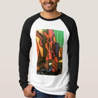 Het kubiste schilderen van de van de kunstViool en T Shirt