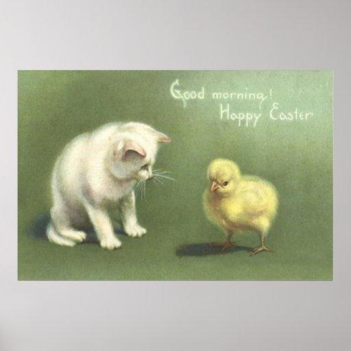 Het Kuiken van Pasen van het Katje van de kat Posters