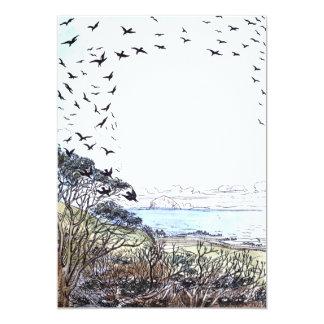 Het Kunstwerk van de Vogels van het strand 12,7x17,8 Uitnodiging Kaart