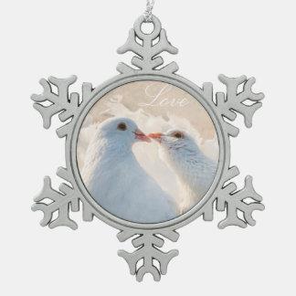 Het kussen Duiven - Liefde Tin Sneeuwvlok Ornament