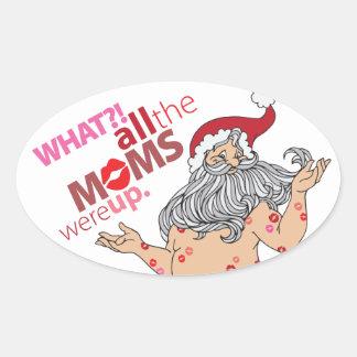 Het kussen Kerstman Ovaalvormige Stickers