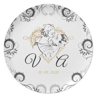 Het Kussen van het huwelijk het Plaatsen van de Melamine+bord