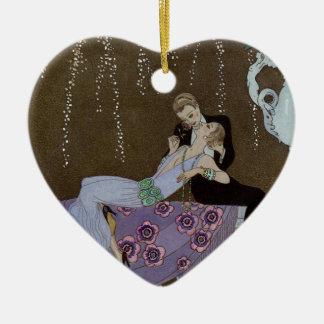 Het Kussen van het Paar van het art deco Keramisch Hart Ornament