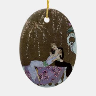 Het Kussen van het Paar van het art deco Keramisch Ovaal Ornament