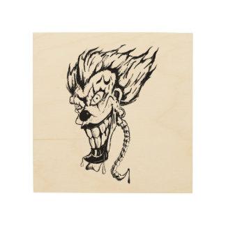 Het kwade Art. van de Muur van de clown Houten Hout Afdruk