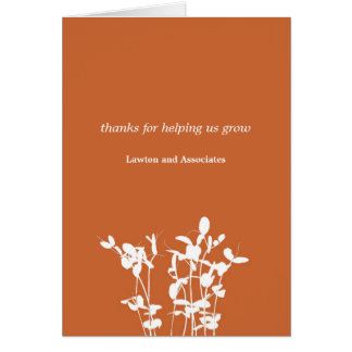 Het kweken van plant brandde oranje zaken dankt u notitiekaart