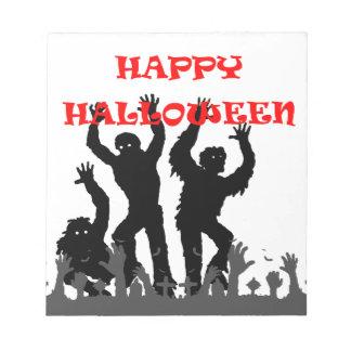 Het kwijlen van Halloween zombieblocnote Notitieblok