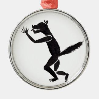 Het kwijlen van Weerwolf Zilverkleurig Rond Ornament