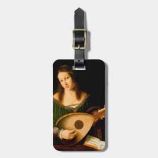 Het Label van de Bagage van dame Playing Lute het Kofferlabel