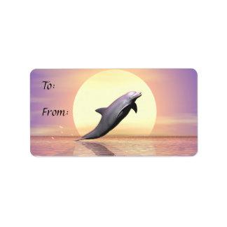 Het Label van de Gift van de Dolfijn van de zon Addressticker
