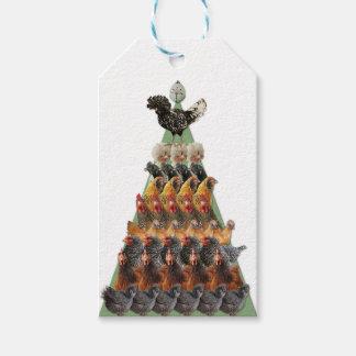 Het Label van de Gift van de Kerstboom van de kip Cadeaulabel