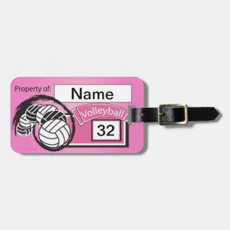 Het Label van het volleyball in Roze Kofferlabels