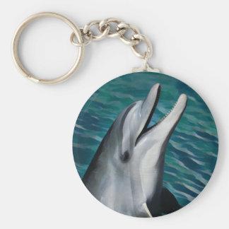 Het lachen Dolfijn Basic Ronde Button Sleutelhanger