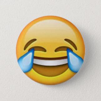 Het lachen emojispeld ronde button 5,7 cm