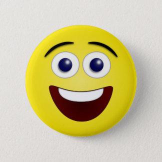 Het lachen Geel Gezicht Smiley Ronde Button 5,7 Cm