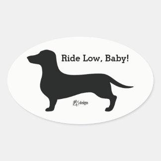 Het Lage Baby van de rit! Dashund Ovale Sticker