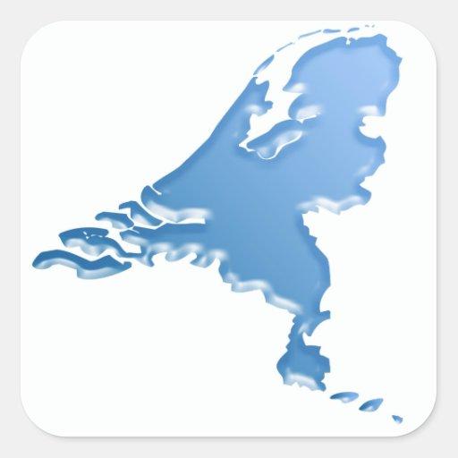 Het land van het Nederland van water Vierkant Sticker