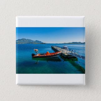 Het landen mannetje en snelheidsboot vierkante button 5,1 cm