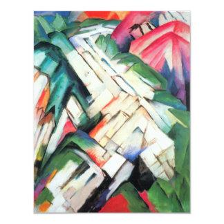 Het Landschap van bergen door het Vintage Kubisme Persoonlijke Aankondiging