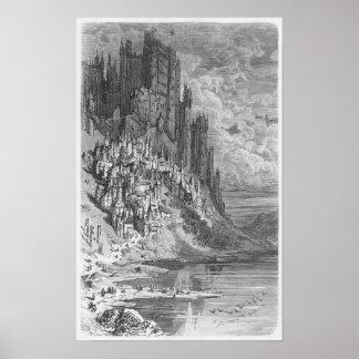 Het landschap van de fantasie met stad en kasteel poster