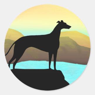 Het Landschap van de Hond van de Windhond van de Ronde Sticker