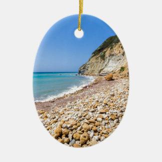 Het landschap van de kust met steenachtig strand keramisch ovaal ornament